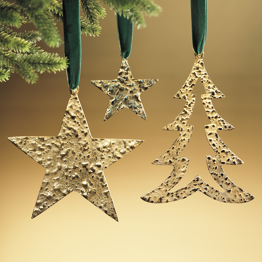 Raw Aluminum Star Ornament Gold in Various Sizes
