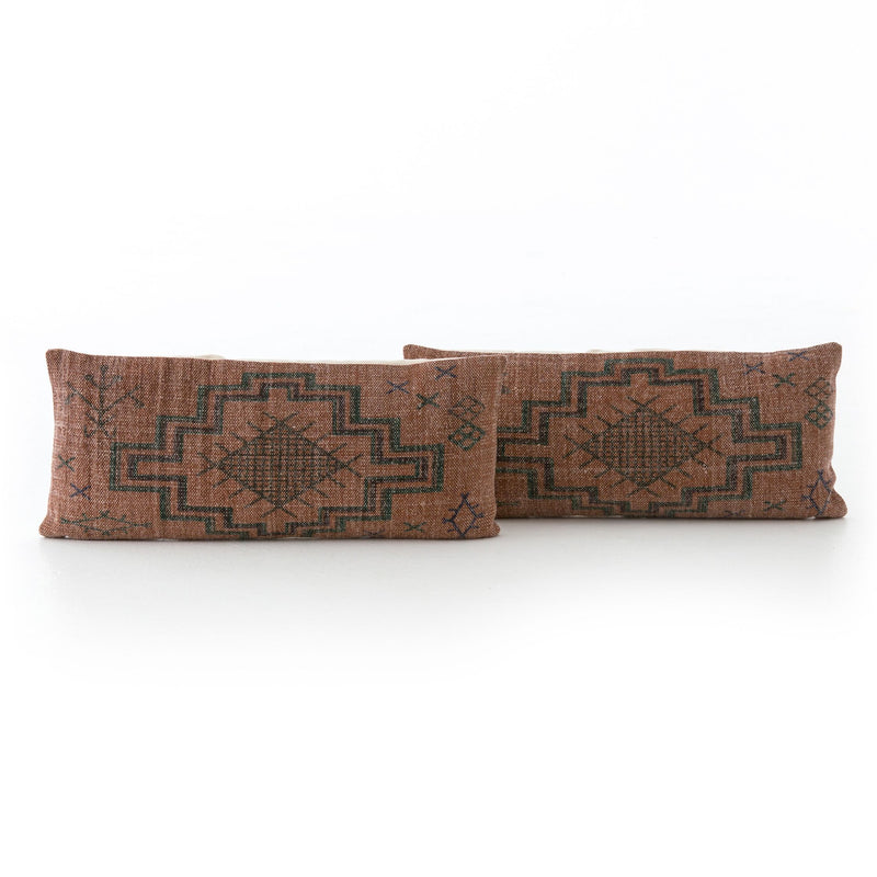 Tribal Rust Lumbar Pillow Set of 2