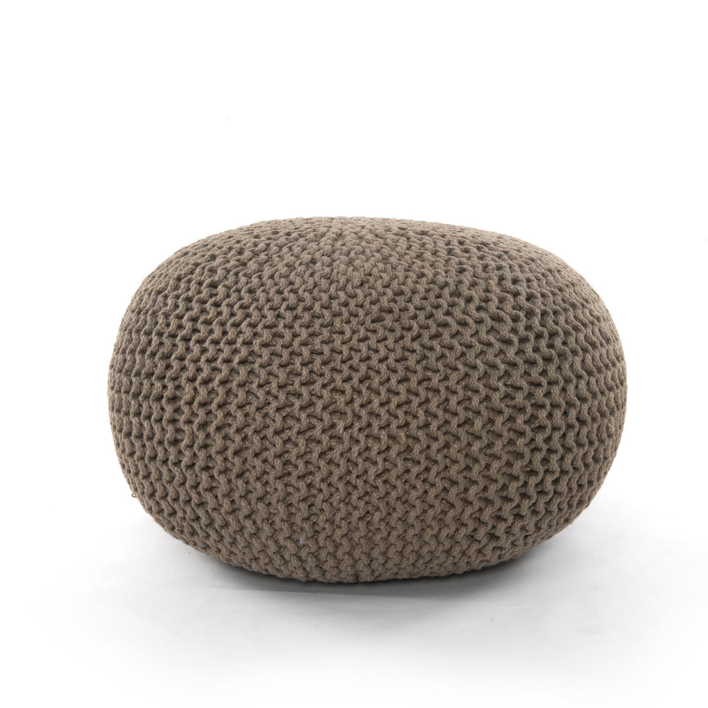 Jute Knit Neutral Pouf