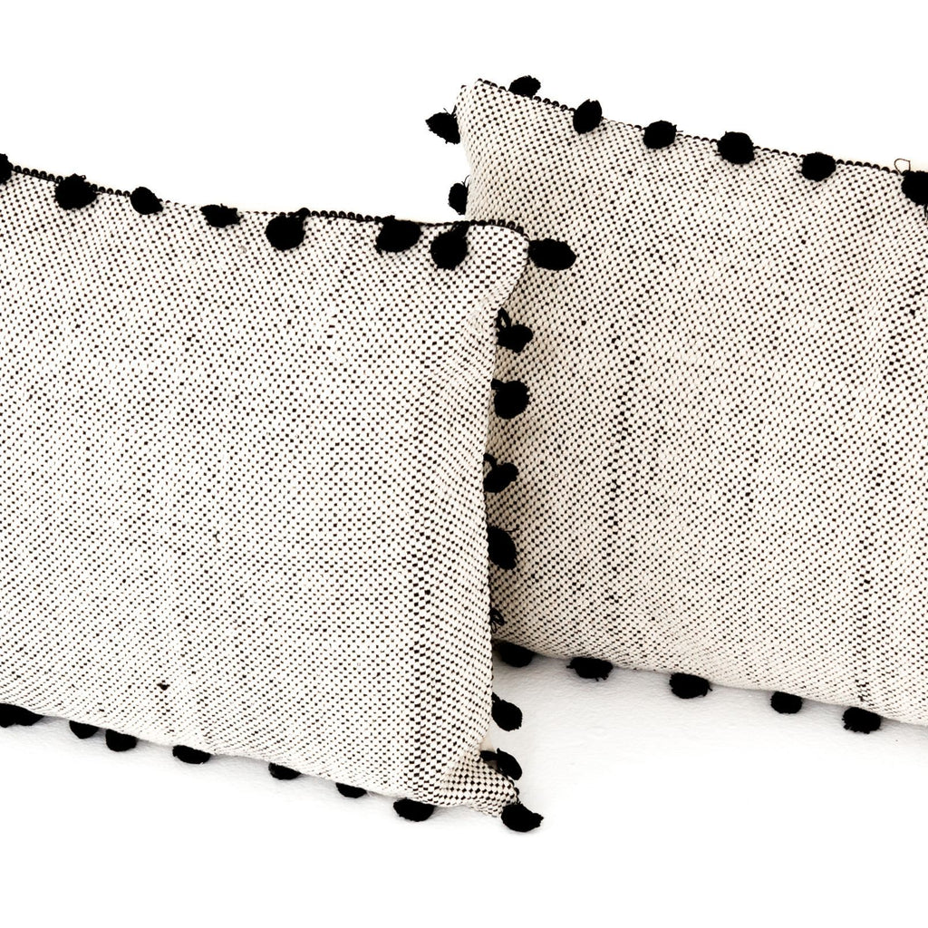 Black Fringe Trim Pillow Set of 2