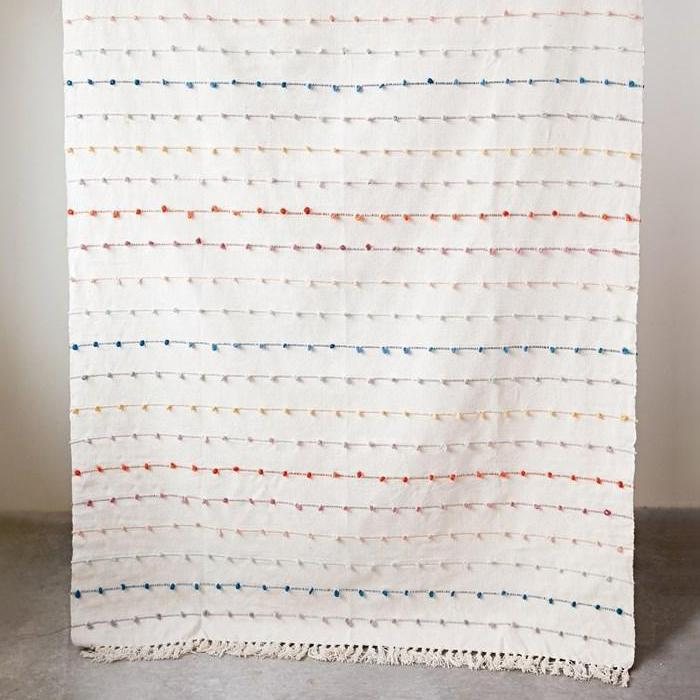 Multi-color Embroidery Loop Throw