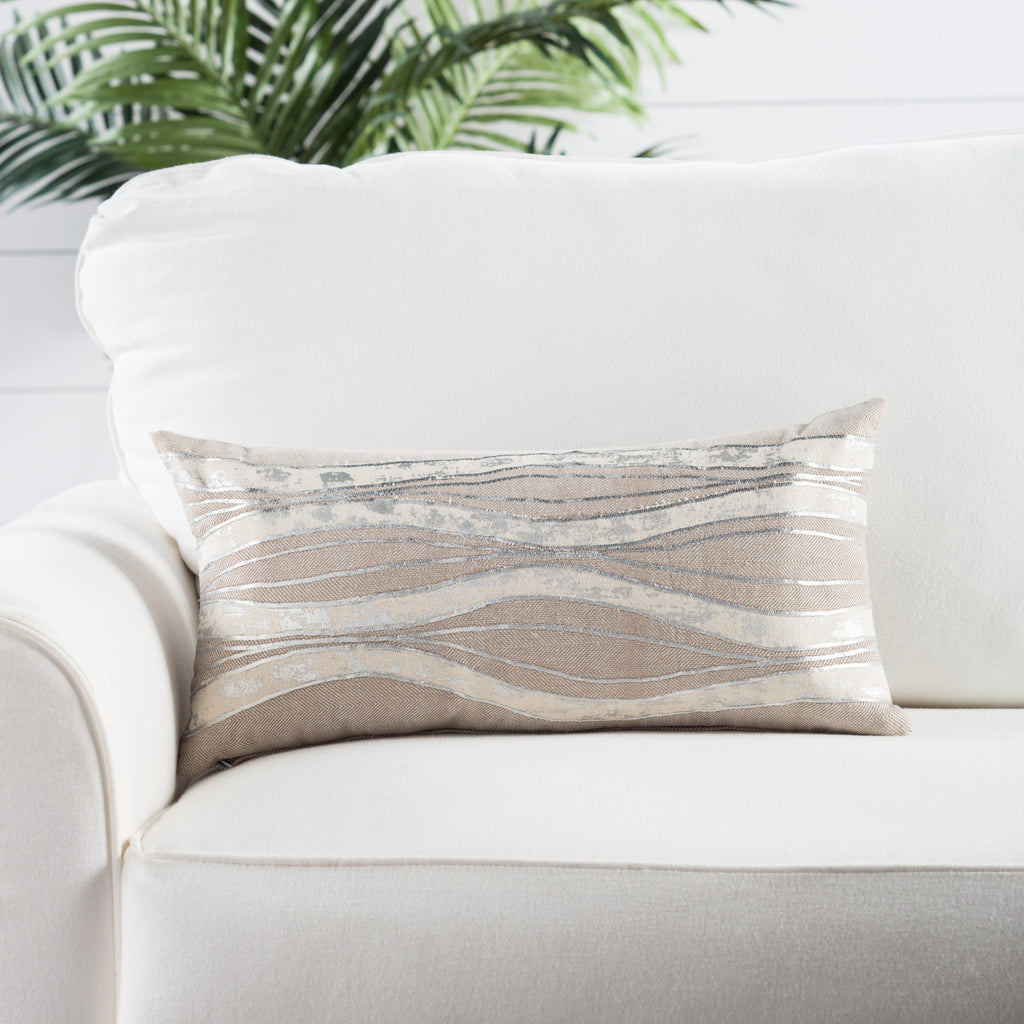 Fortuna Taupe/ Ivory Stripe Poly Throw Pillow