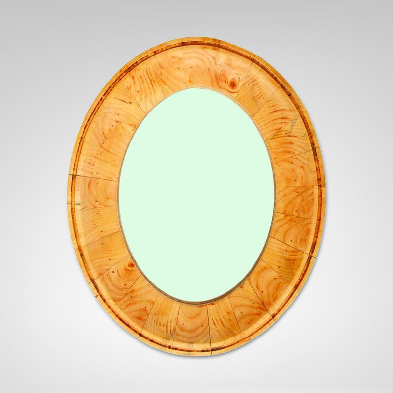 Oval Wood Framed Mirror