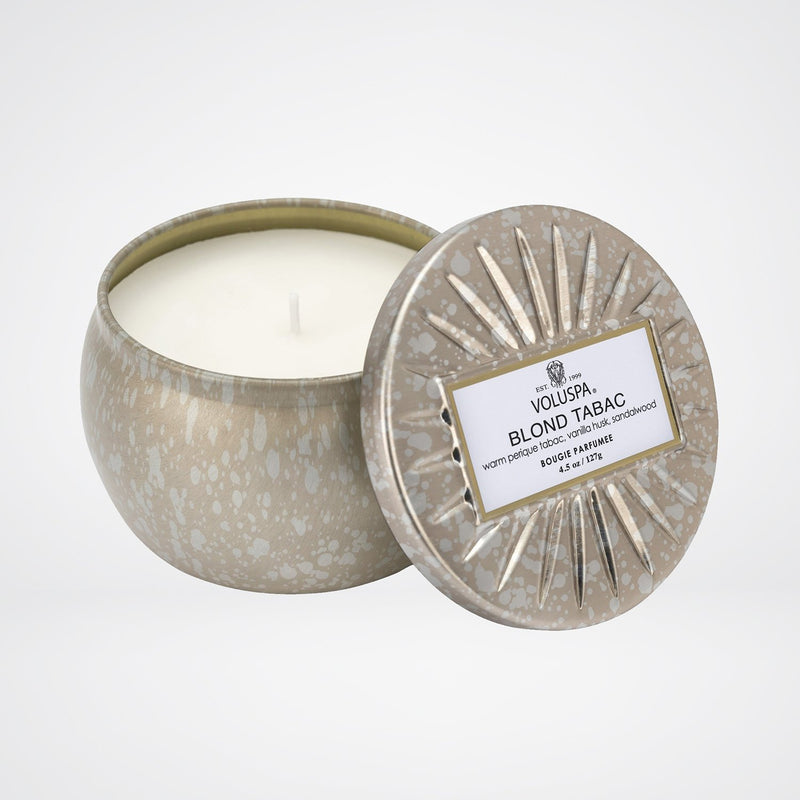 Petite Decorative Tin Candle in Blond Tabac