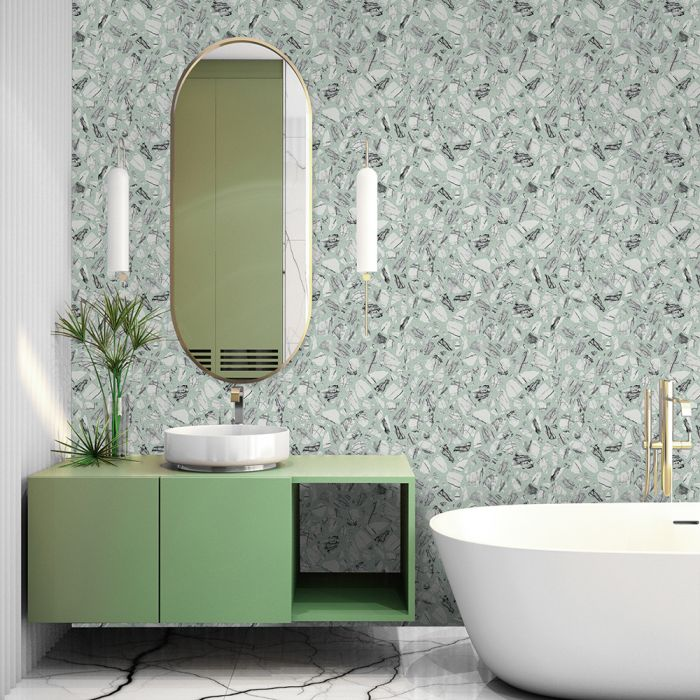 Speckled Terrazzo Removable Wallpaper in Mint Julep