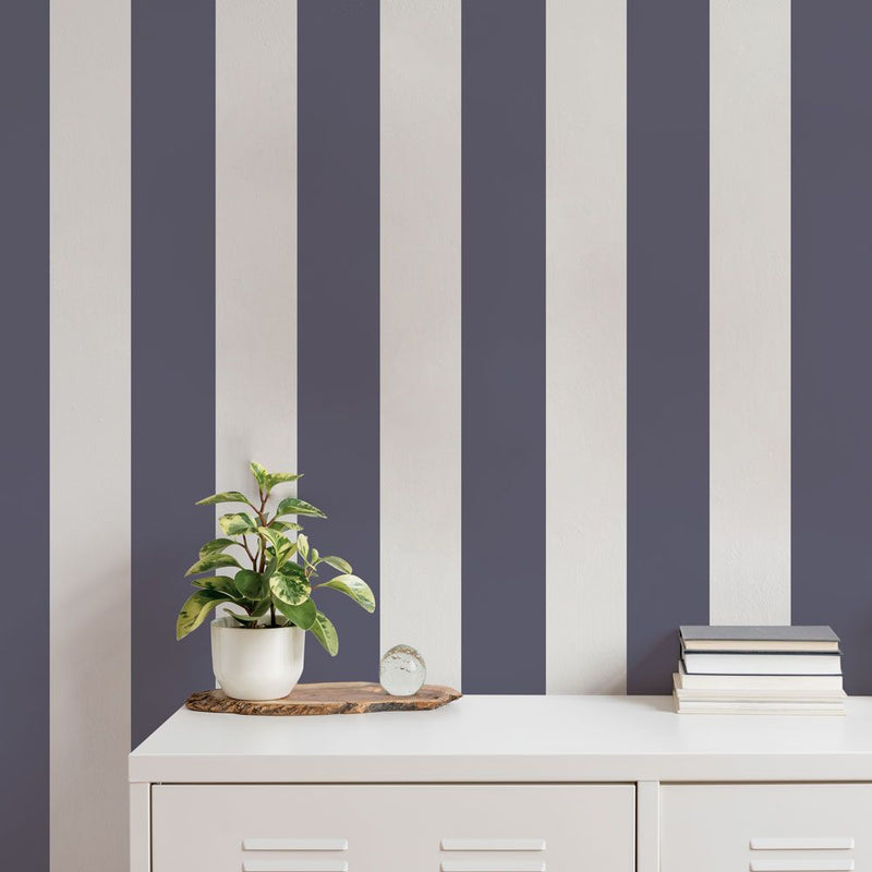 Stripe Removable Wallpaper in Navy and Light Grey