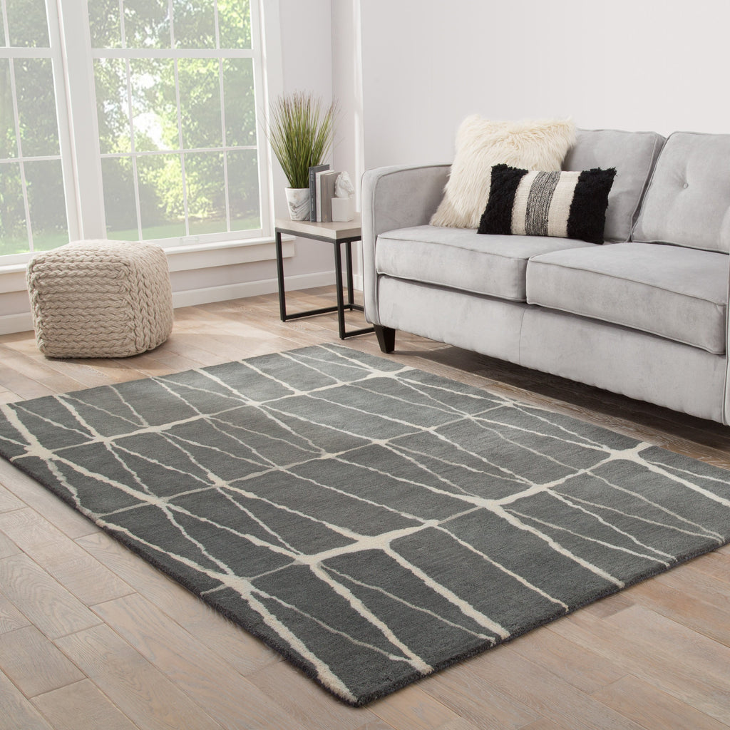 Botticino Handmade Geometric Gray & Cream Area Rug