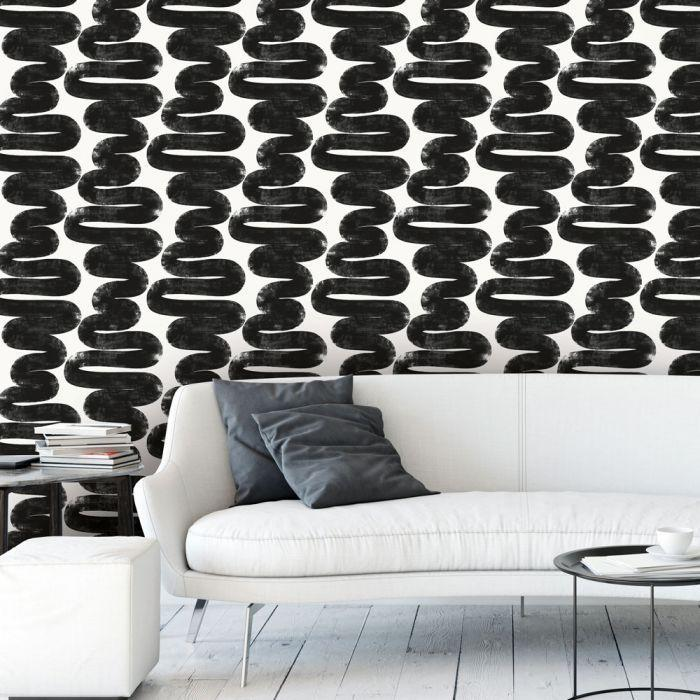 Wiggle Room Removable Wallpaper in White and Black