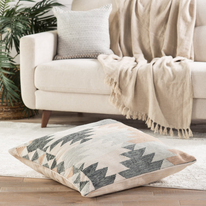 Kayenta Geometric Cream/ Gray Floor Pillow