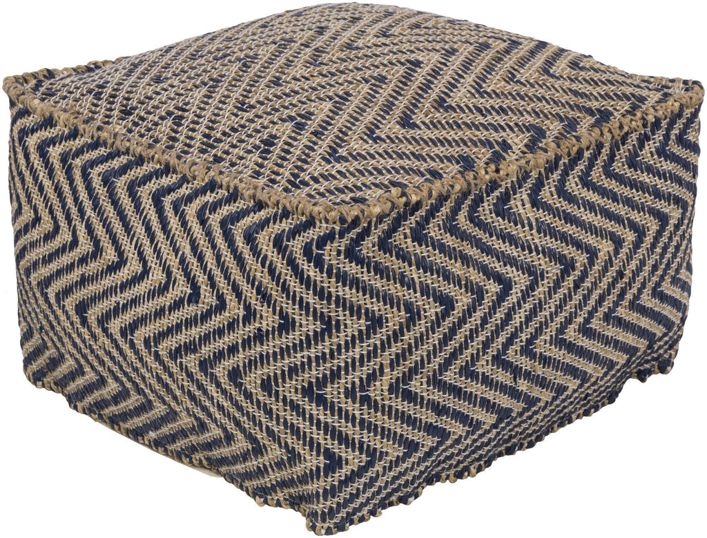 Bodega Pouf in Navy & Khaki design by Surya