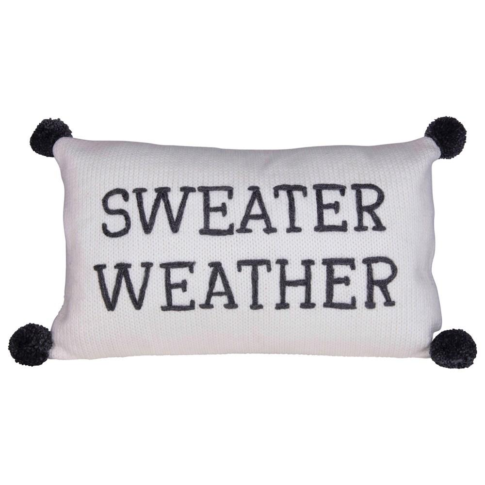 """Sweater Weather"" Embroidered Lumbar Pillow"