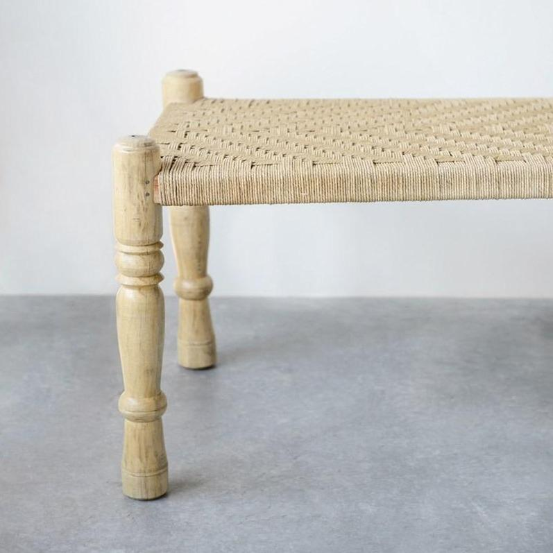 Mango Wood & Woven Rope Bench