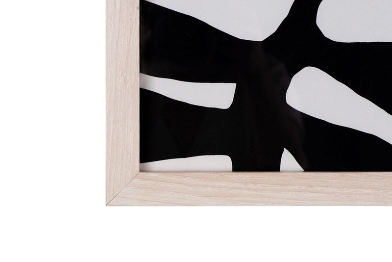 Abstract Wall Art with Natural Wood Frame