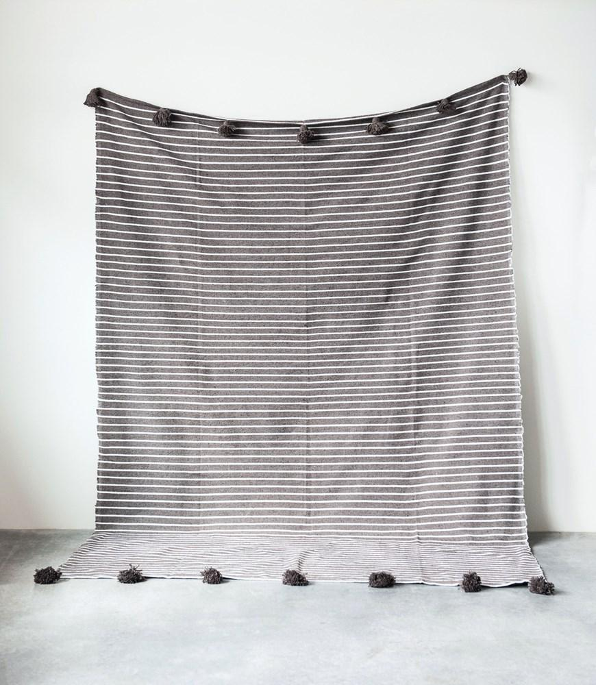 Brown Striped Bed Cover with Brown Tassles
