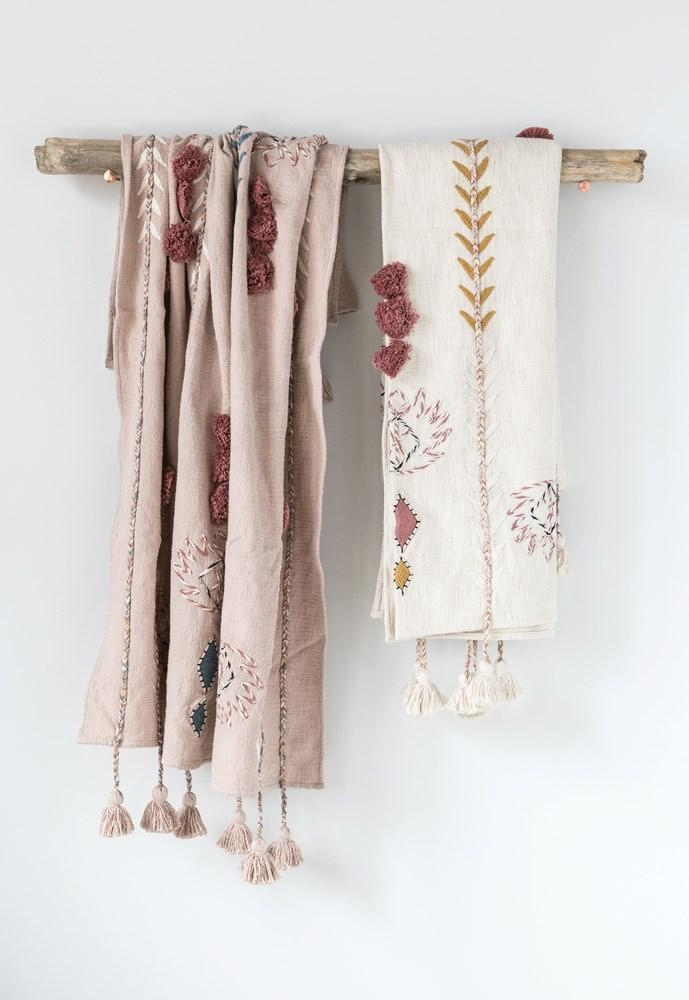 Pink Embroidered Throw with Tassles