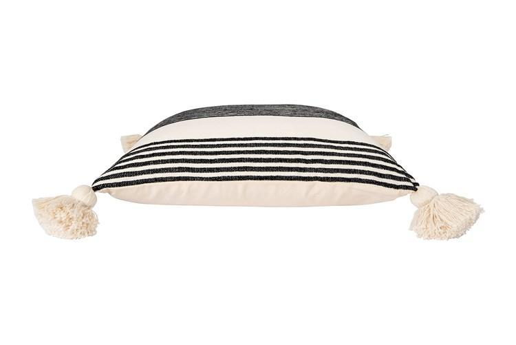 Black Striped Pillow with Tassels