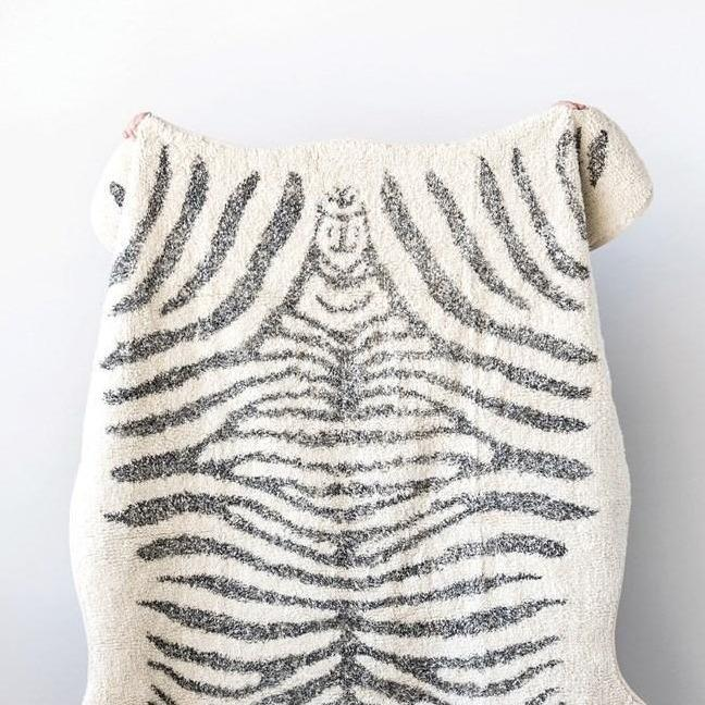 Black & White Zebra Print Tufted Rug