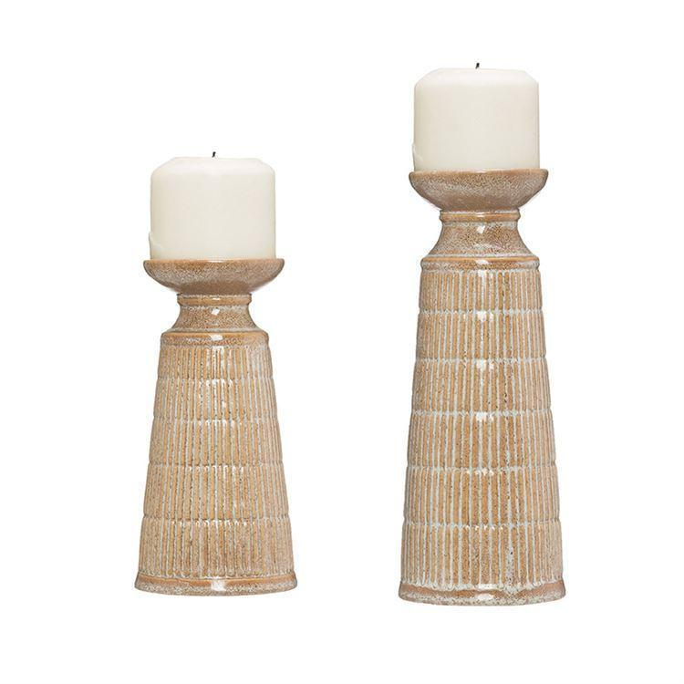 Stoneware Candle Holder with Reactive Glaze in Beige by BD Edition