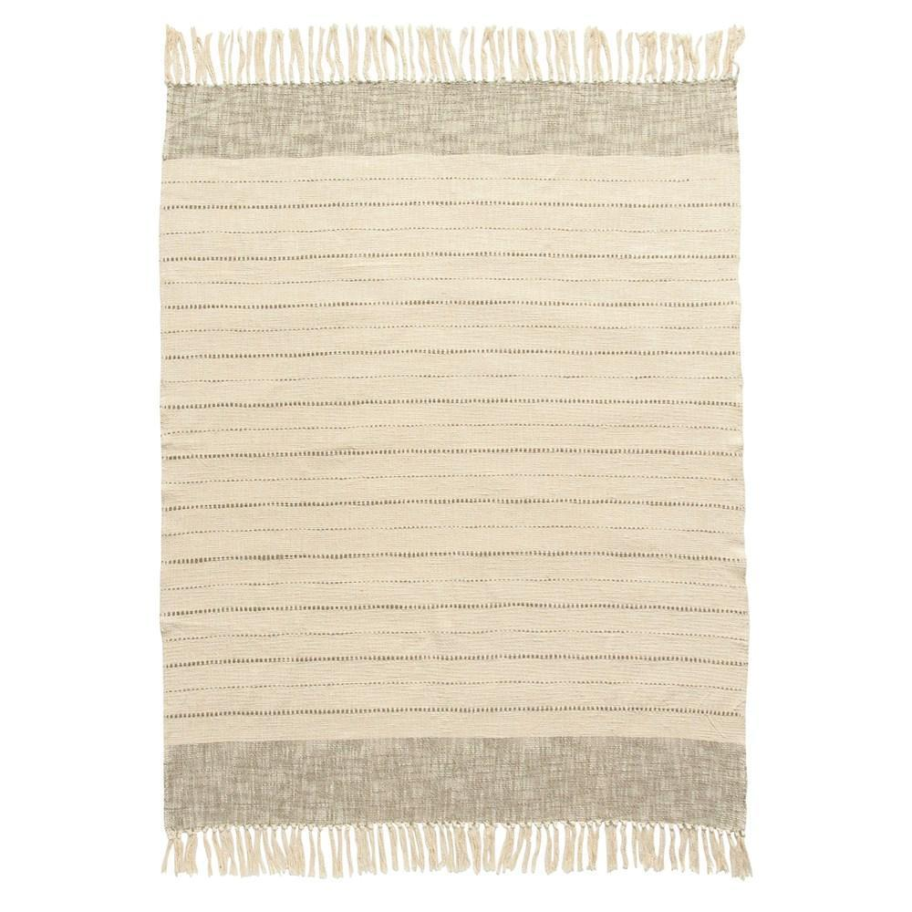 Tan & Cream Throw with Fringe