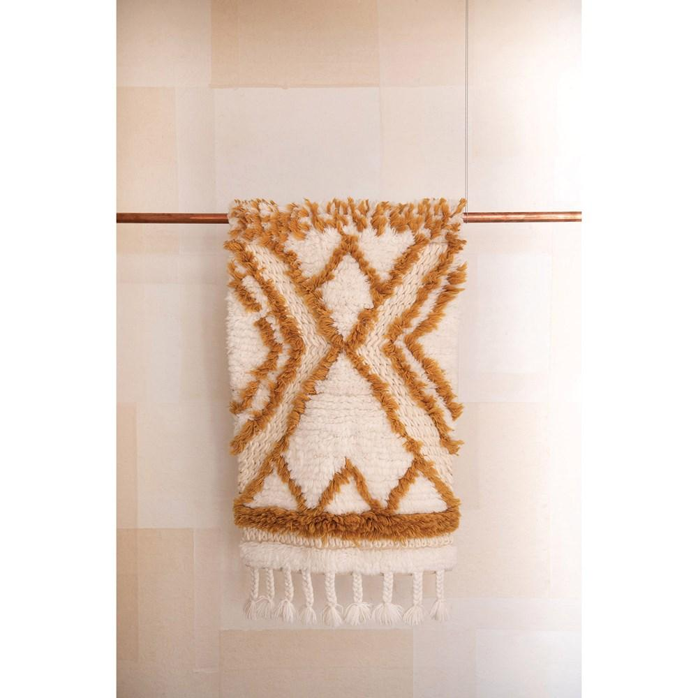 Natural & Mustard Patterned Tufted Rug
