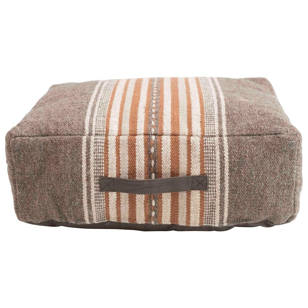 Brown and Orange Striped Pouf