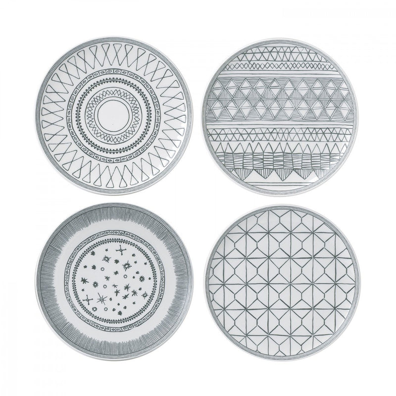 Charcoal Grey 8 inch Plate Mixed Set of 4