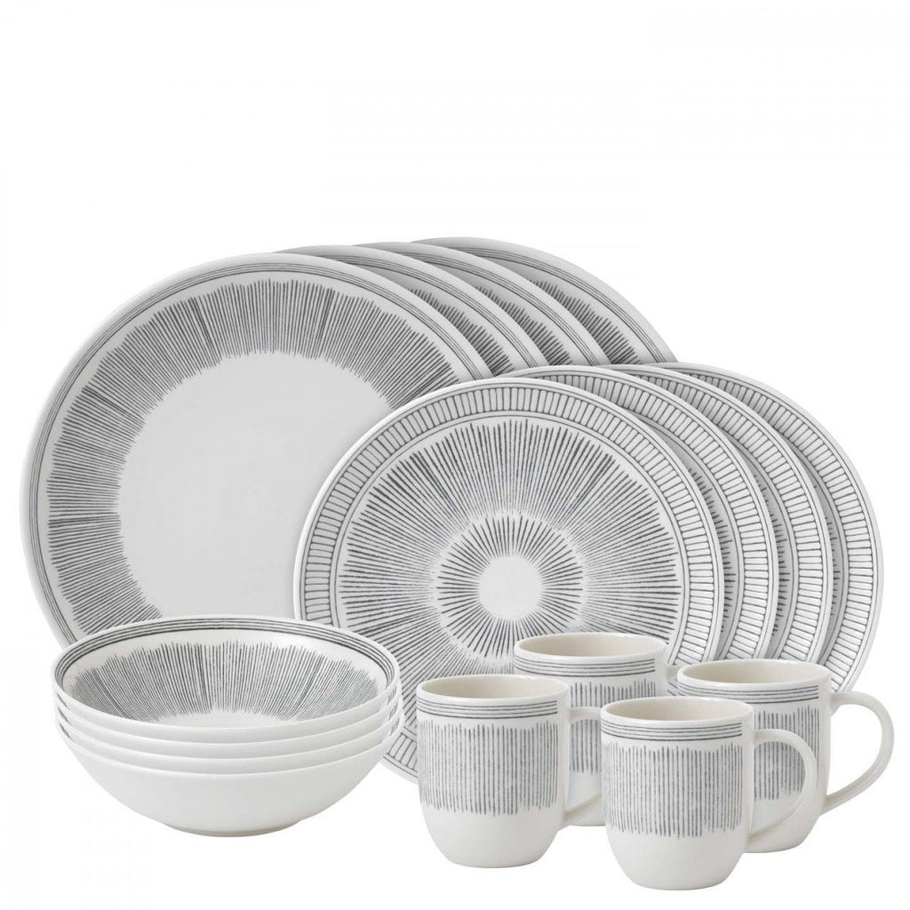 Charcoal Grey Lines 16-Piece Set