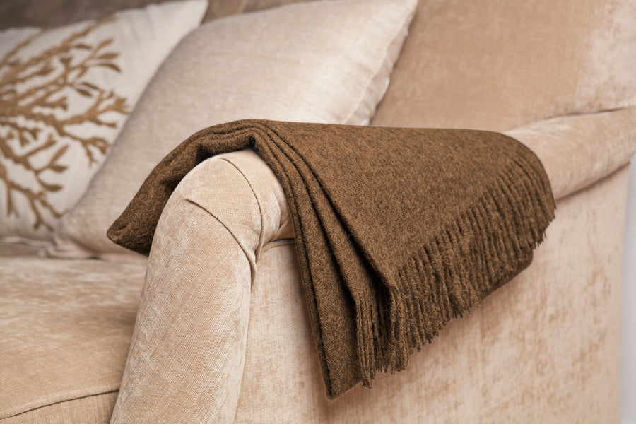 Baby Alpaca Throw in Camel [LIMITED EDITION]