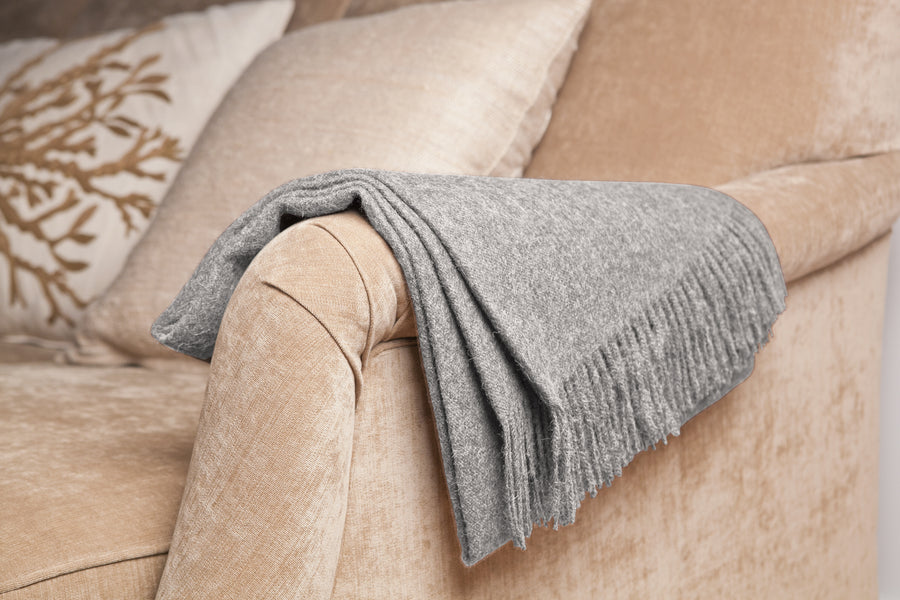 Baby Alpaca Throw in Stone [LIMITED EDITION]