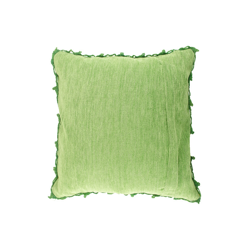 Green Alpaca Embroidered Pillow