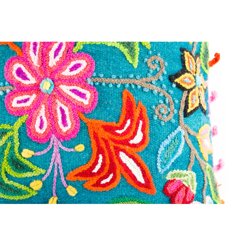Turquoise Embroidered Alpaca Pillow