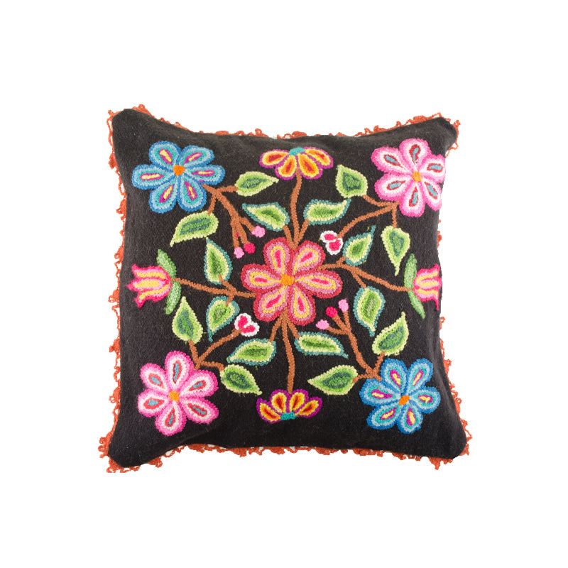 Black Embroidered Alpaca Pillow