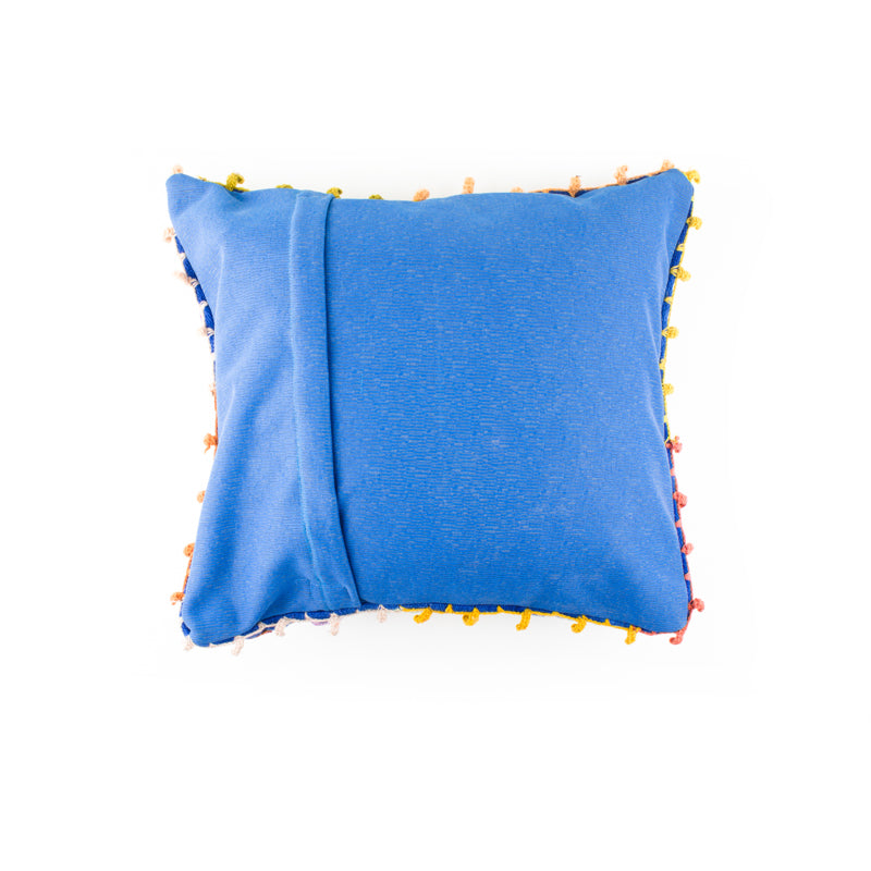 Blue Embroidered Alpaca Pillow