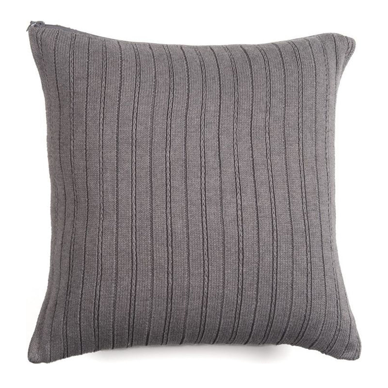 Hand Knitted Alpaca Pillow- GREY