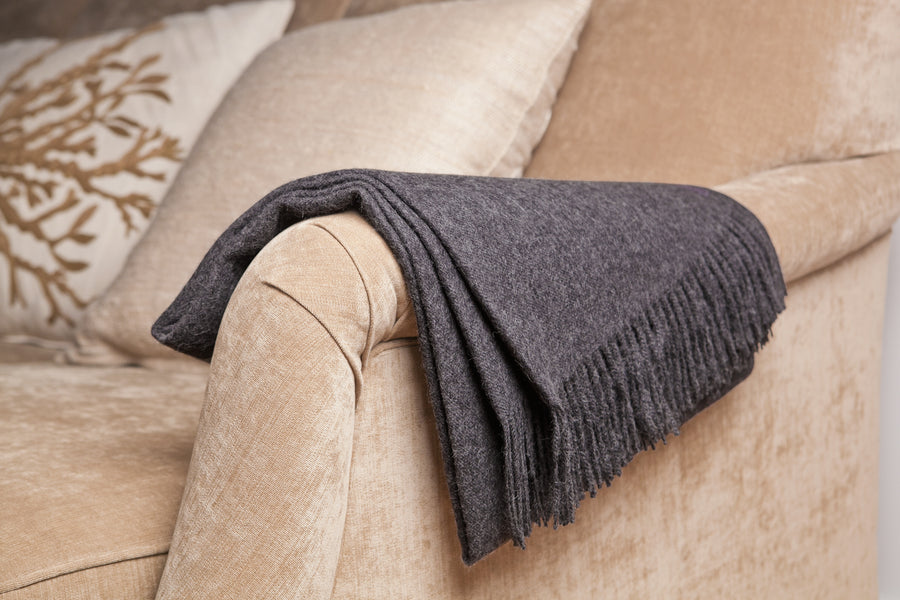 Baby Alpaca Throw in Slate [LIMITED EDITION]
