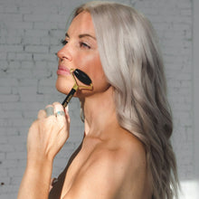 Load image into Gallery viewer, Black Obsidian Facial Roller & Gua Sha Set Root Natural