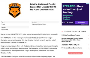 Tryout Listing on SoccerWire.com