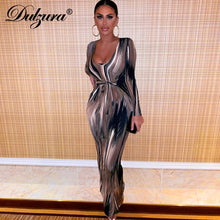 Load image into Gallery viewer, Dulzura tie dye print women midi dress long sleeve bodycon sexy bandage bodycon sexy 2020 autumn winter clothes party dinner