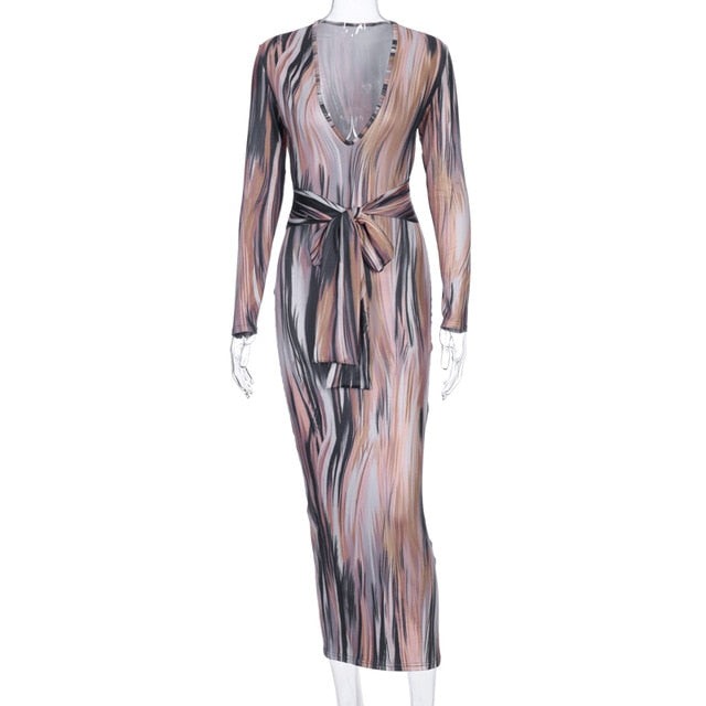 Dulzura tie dye print women midi dress long sleeve bodycon sexy bandage bodycon sexy 2020 autumn winter clothes party dinner