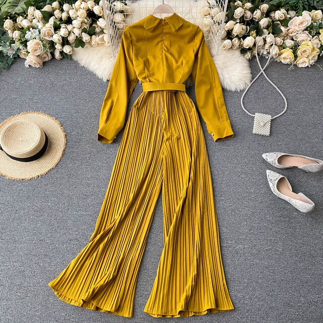 ALPHALMODA 2020 Autumn New Women's Fashion Pleated Jumpsuit Long-sleeved Belted Office Ladies Stylish Solid Rompers