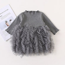 Load image into Gallery viewer, Xmas Baby Girls Knitted Dress Ruffle lattice Sweater Toddler Girl  Warm Clothes Infant Girls outfit For Winter Autumn Dresse2-7y