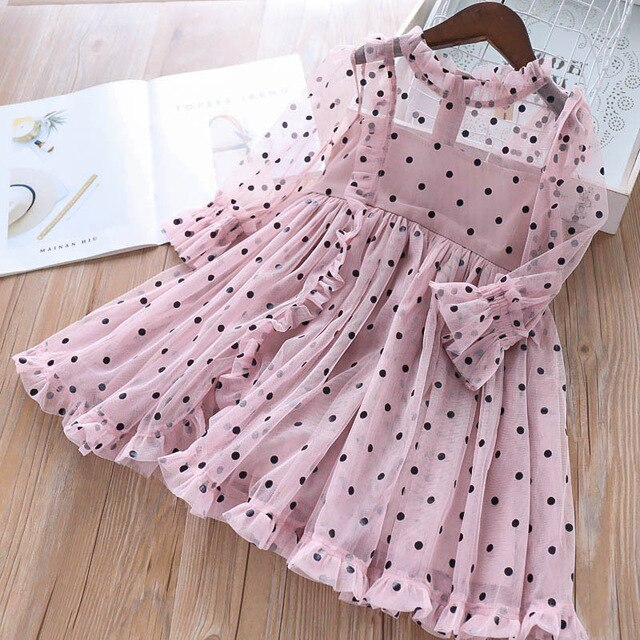 Summer Toddler Girls Lace Dot Dress spring and fall Kids infant Bow Mesh Wedding Dresses Children Clothing For Baby Girls 1-6 Y