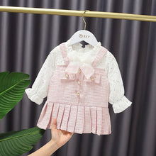 Load image into Gallery viewer, Autumn Baby Girl's Bow Sequined Pleated Fake Two-Piece Sweet Long Sleeve Princess Dress Kids