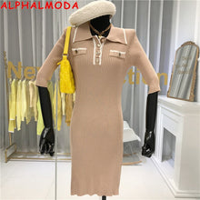 Load image into Gallery viewer, ALPHALMODA 2020 Spring Summer Women Turn-down Collar Half-sleeved Fashion Office Knitting Dress Slim Fit Ladies Elegant Dress