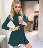 Women Long Sleeve Sweater Dress Mini Knitted