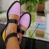 MCCKLE Autumn Flat Shoes Women Double Buckle Leather Ankle Strap