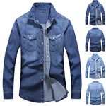 Feitong Streetwear Denim Shirt Men Fashion Turn-down Collar Casual Long Sleeve Autumn Winter Pockets Male Tops Blouse