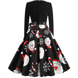Black Big Swing Print Vintage Christmas Dress Women Winter Casual Long Sleeve V Neck Sexy New Year Party Dress Plus Size S~3XL