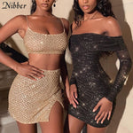 NIBBER brisket dresses sexy party shiny high waist mini   wrinkle dress stretch Slim Soft bodycon black 2020 spring summer new
