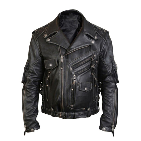 Men's Luxury Leather Jackets Casual Stand Collar